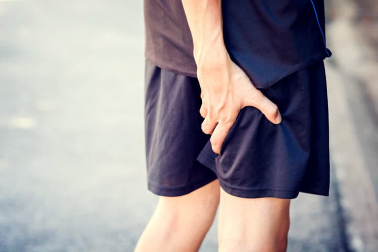 Physio sports injury back of leg